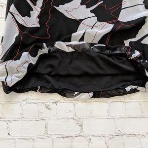 Alfani Tops - Alfani Black & Ivory Floral Print Bell Sleeve Top